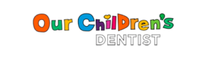 Logo for pediatric dentistry in Kohrville, TX saying: our children's dentist with transparent background