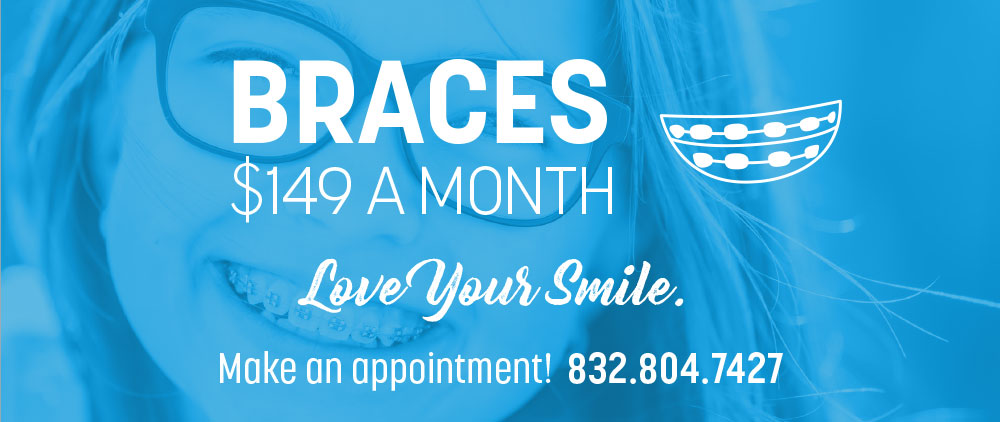 A young girl with braces smiles beneath a special offer on braces at Lovett Dental in Kohrville, TX